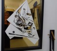 Nina Annabelle Märkl   Aggregatzustände, Line and Space 3   Open Studios   Ink on folded paper, wood, polished steel   2017
