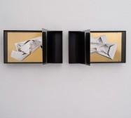 Nina Annabelle Märkl | Space 6.1., 6.2. | Ink on folded paper, cutouts, polished steel | 30 x 100 x 25 cm | 2017