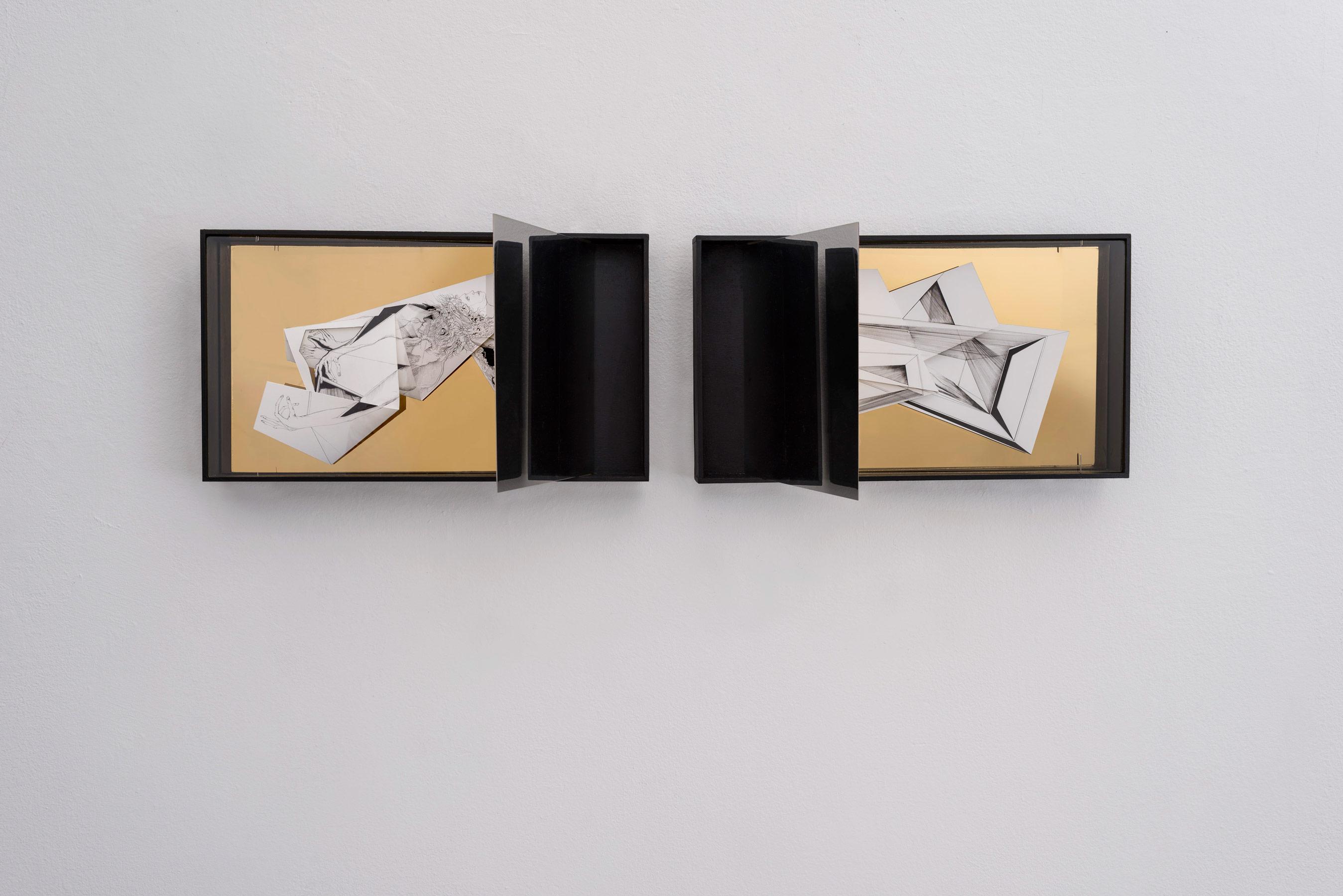 Nina Annabelle Märkl   Space 6.1., 6.2.   Ink on folded paper, cutouts, polished steel   30 x 100 x 25 cm   2017