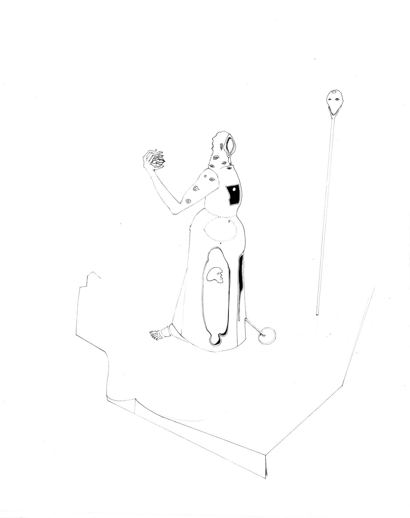 Nina Annabelle Märkl | Desideranten, Desiderate 3 | Tusche und Bleistift auf Papier | 35,5 x 28 cm | 2018