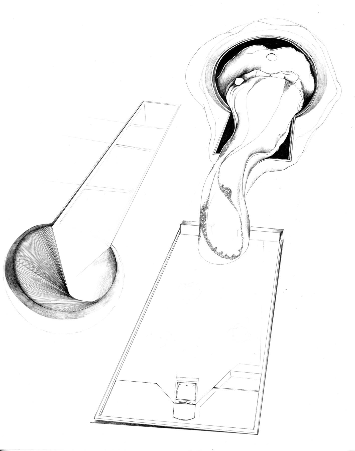 Nina Annabelle Märkl   Desideranten, Desiderate 6   Tusche und Bleistift auf Papier   35,5 x 28 cm   2018