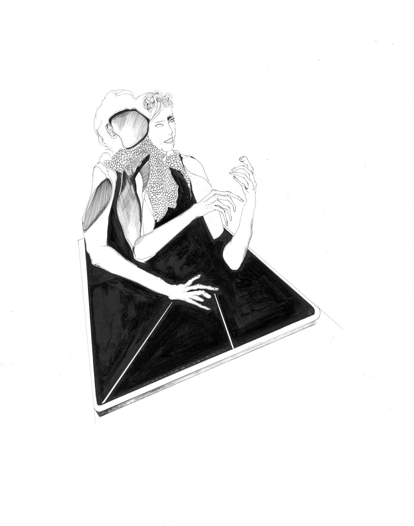 Nina Annabelle Märkl   Desideranten, Desiderate 8   Tusche und Bleistift auf Papier   35,5 x 28 cm   2018