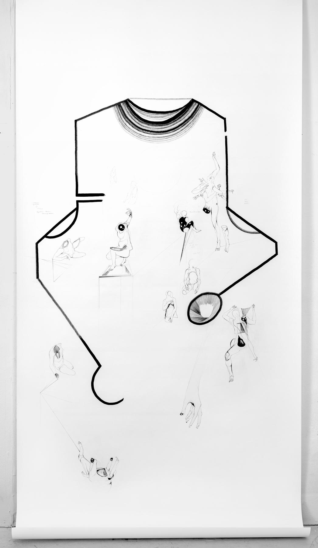Nina Annabelle Märkl   Display 1   ink on paper   270 x 135 cm   2017/2018