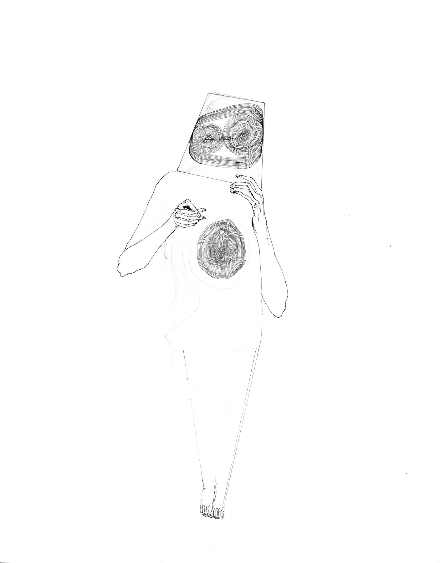 Nina Annabelle Märkl | Idol 2 | Tusche und Bleistift auf Papier | 35,5 x 28 cm | 2018