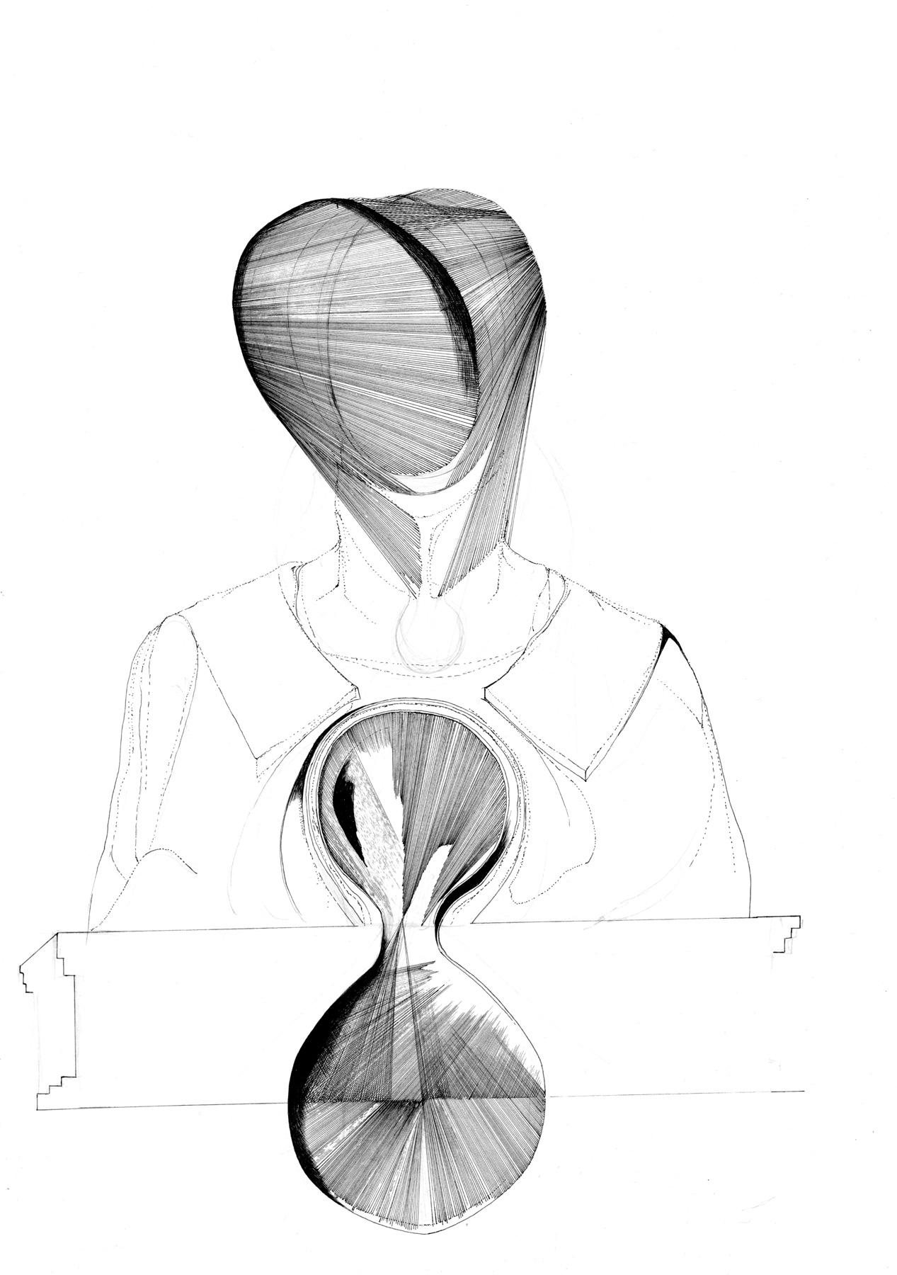 Nina Annabelle Märkl | Sakrale Auslösungen 2 | Tusche und Bleistift auf Papier | 29,7 x 21 cm | 2017