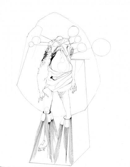 Nina Annabelle Märkl | Skulpturale Expansionen 1 | Tusche und Bleistift auf Papier | 35,5 x 28 cm | 2018