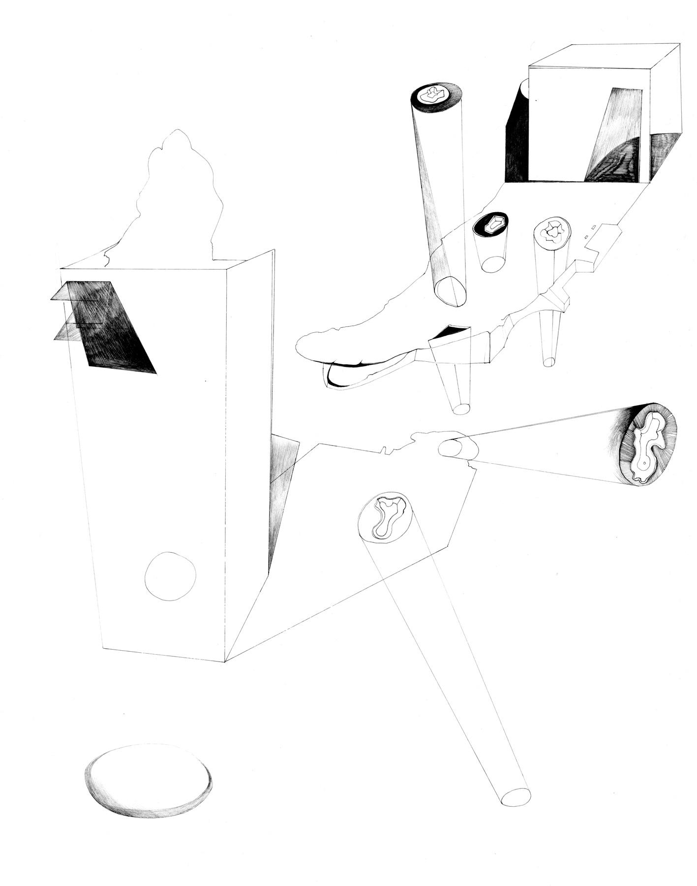 Nina Annabelle Märkl | Skulpturale Expansionen 3 | Tusche und Bleistift auf Papier | 35,5 x 28 cm | 2018