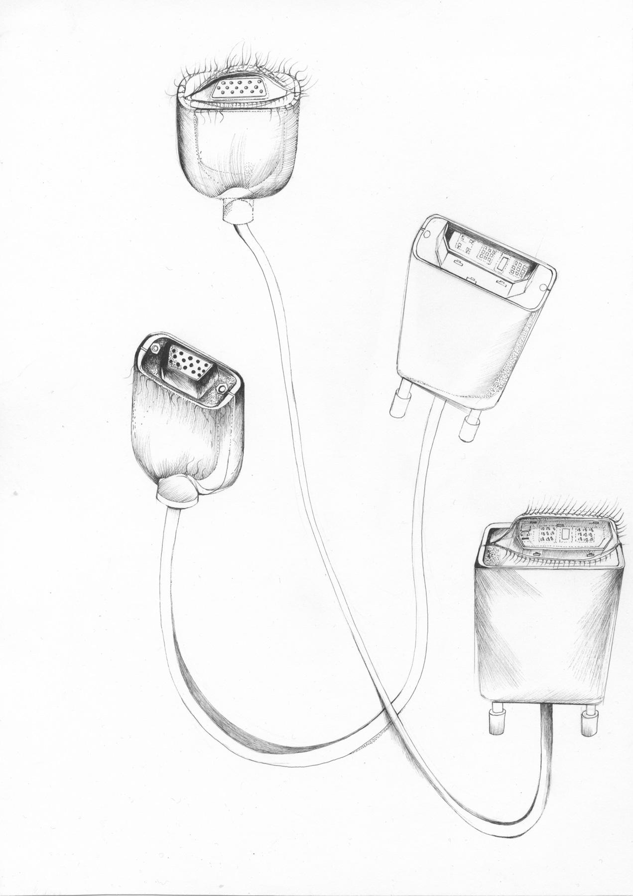 Nina Annabelle Märkl | Tools 2 | Tusche und Bleistift auf Papier | 29,7 x 21 cm | 2016