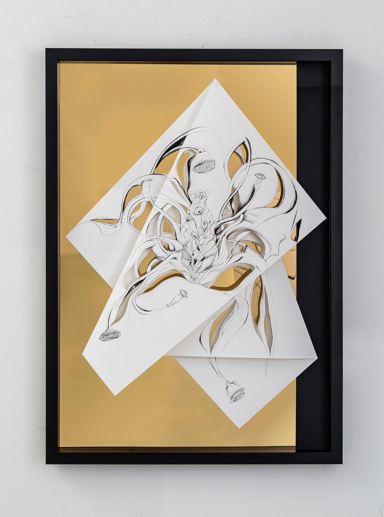 Nina Annabelle Märkl | Torsionen 5 | Tusche auf gefaltetem Papier, Cutouts, schwarzer Karton, Holz, Spiegelmetall| 105 x 75 x 5 cm | 2017