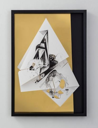 Nina Annabelle Märkl | Torsionen 7 | Tusche auf gefaltetem Papier, Cutouts, schwarzer Karton, Holz, Spiegelmetall| 105 x 75 x 5 cm | 2017