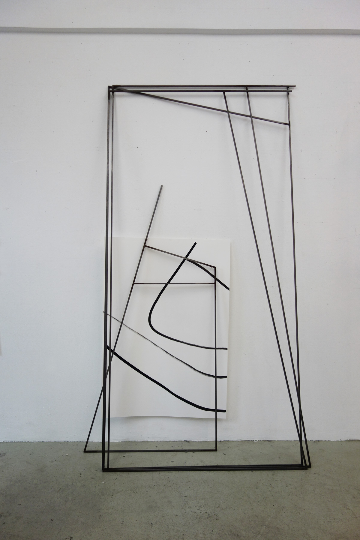Nina Annabelle Märkl | Frames | Ink and steel drawing | 210 x 120 x 40 cm | 2018