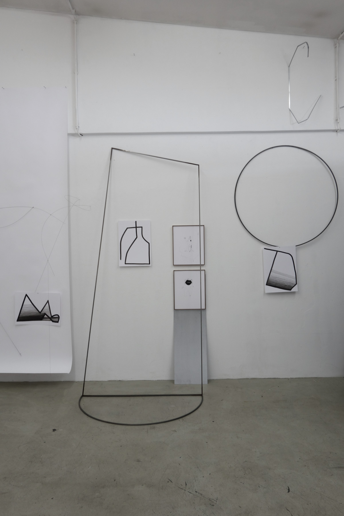 Nina Annabelle Märkl   Frames   Ink and steel drawings   installation   open studios   2018