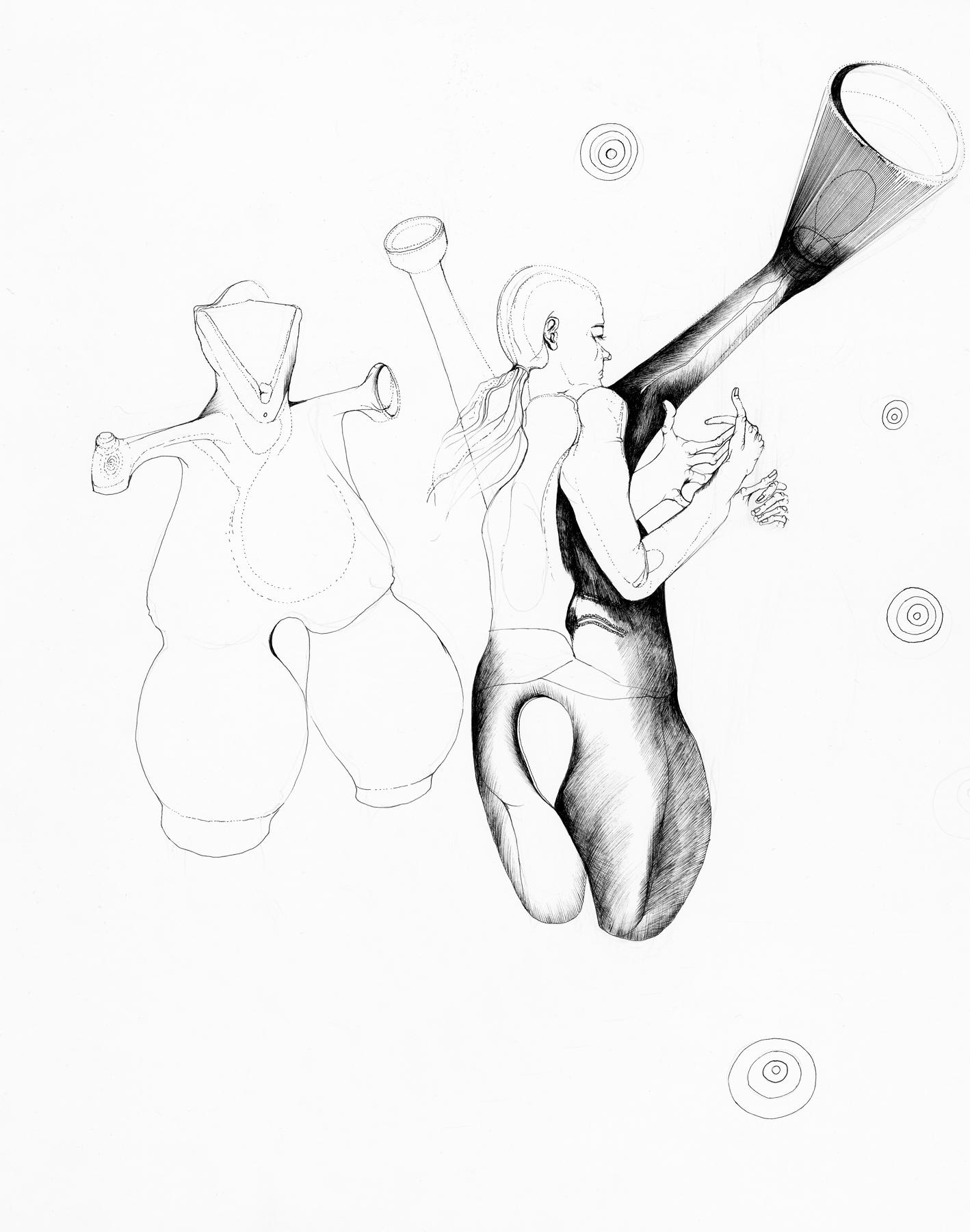 Nina Annabelle Märkl   Anwesende Geister   Tusche auf Papier   35,5 x 28 cm   2018