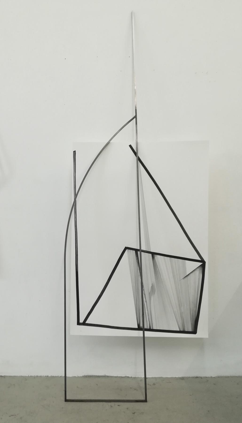Nina Annabelle Märkl | Frames | ink and steel | 200 x 75 x 20 cm | 2018