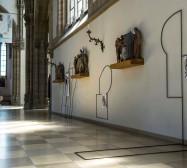 Off-Ornament | Stahl, Magnete und Tusche auf Papier | Installationsansicht Und wir sollten schweigen? | St Paul München | 2019 | Foto: Walter Bayer