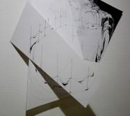 Folded Matter | Tusche auf Papier, Cutouts | 70 x 50 x 20 cm