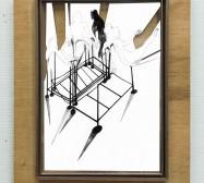 Gerüst | Tusche auf Papier, Cutouts, Holz, Glas | ca. 35 x 25 x 3 cm