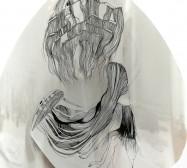 Hund | Tusche auf Papier, Cutouts, Holz, Glas | ca. 30 x 30 x 25 cm