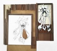 Lilie | Tusche auf Papier, Cutouts, Glas | 40 x 40 x 2 cm
