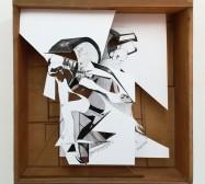 Machines | Tusche auf Papier, Cutouts, Schublade, Glas, Holz, Messing | 49 x 47 x 10 cm