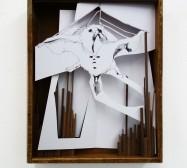 Tier | Tusche auf Papier, Cutouts, Holzbox, Glas | 35 x 25 x 7 cm