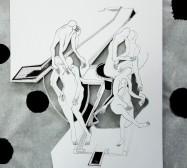 Two Sides 1| Tusche auf Papier, Cutouts, Stoff | ca. 100 x 50 cm