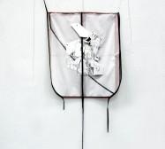Two Sides 2 | Tusche auf Papier, Cutouts, Stoff | ca. 180 x 60 cm