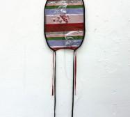 Two Sides 5| Tusche auf Papier, Cutouts, Stoff | ca. 130 x 40 cm