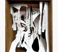 Wald 1 | 35 x 28 x 25 cm | Tusche auf Papier, Cutouts, Holzbox