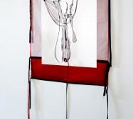 Two Sides 10| Tusche auf Papier, Cutouts, Stoff | ca. 150 x 70 cm