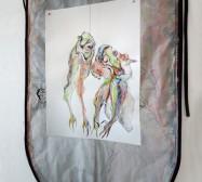 Two Sides 9| Tusche auf Papier, Cutouts, Stoff | ca. 80 x 60 cm