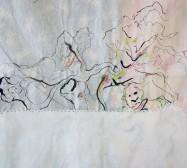 Two Sides 9| Tusche auf Papier, Cutouts, Stoff, Detail | ca. 80 x 60 cm