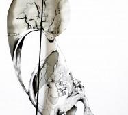 Two Sides 7| Tusche auf Papier, Cutouts, Stoff, Detail | ca. 70 x 40 cm