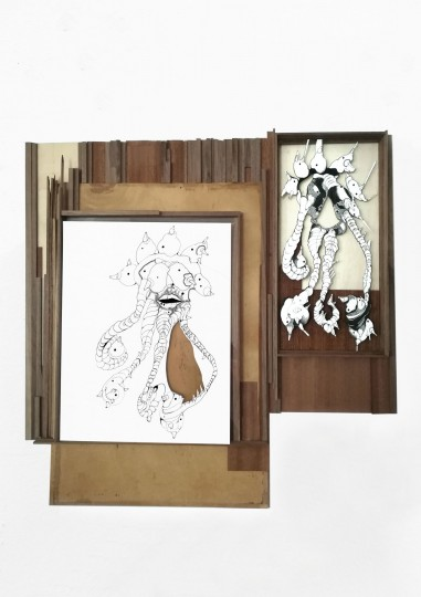 Nina Annabelle Maerkl_Lilie_40 x 40 cm_Tusche auf Papier, Cutouts, Holz_2020