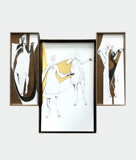 Nina Annabelle Maerkl_Stereo_50 x 35 cm_Tusche auf Papier, Cutouts, Messing, Holz_2020