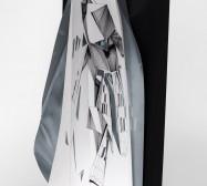 Double Folds 1 | 45 x 30 x 20 cm | Tusche auf gefaltetem Papier, Weißblech, Cutouts, Magnete |Foto: Walter Bayer