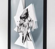 Double Folds 2 | 42 x 30 x 10 cm | Tusche auf gefaltetem Papier, Cutouts, Aluminium, Magnete | 2021