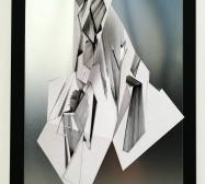 Double Folds 3 | 42 x 30 x 10 cm | Tusche auf gefaltetem Papier, Cutouts, Aluminium, Magnete | 2021