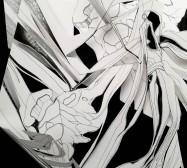 Double Folds 5 | 45 x 30 x 20 cm | Tusche auf gefaltetem Papier, Cutouts, Aluminium, Magnete | 2021